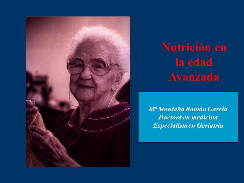 Nutrición en la edad Avanzada Mª Montaña Román García Doctora en medicina Especialista en Geriatría
