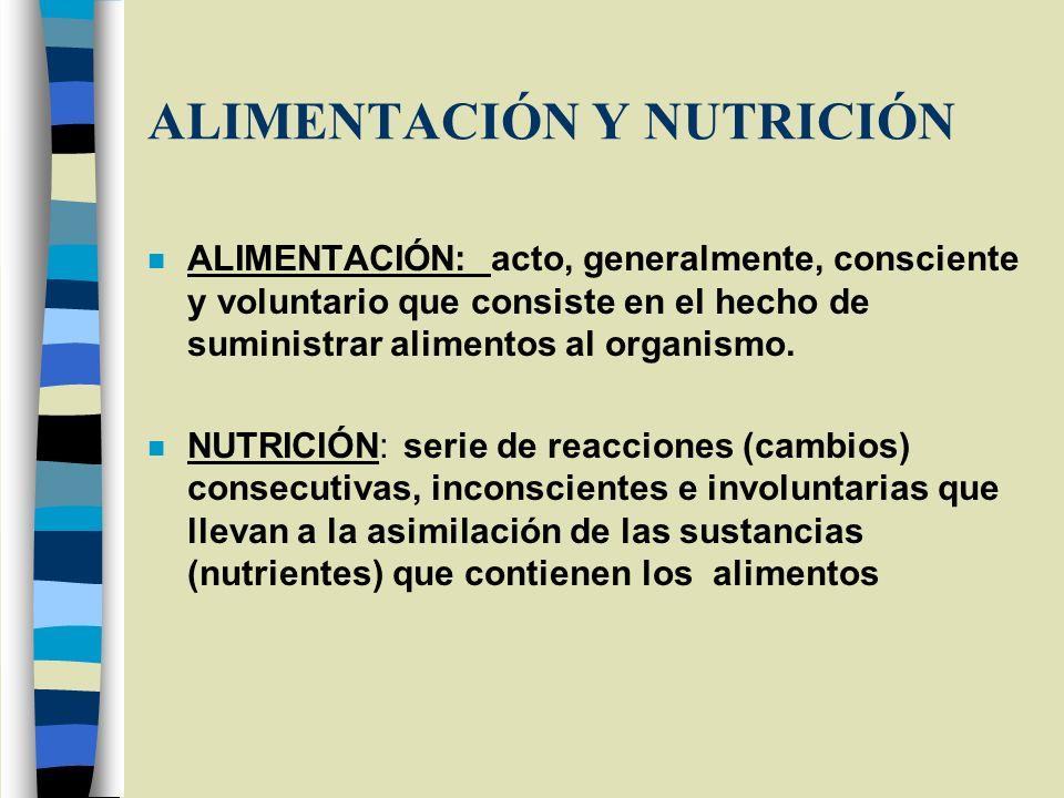 ALIMENTACIÓN Y NUTRICIÓN n ALIMENTACIÓN: acto, generalmente, consciente y voluntario que consiste en el hecho de suministrar alimentos al organismo. n