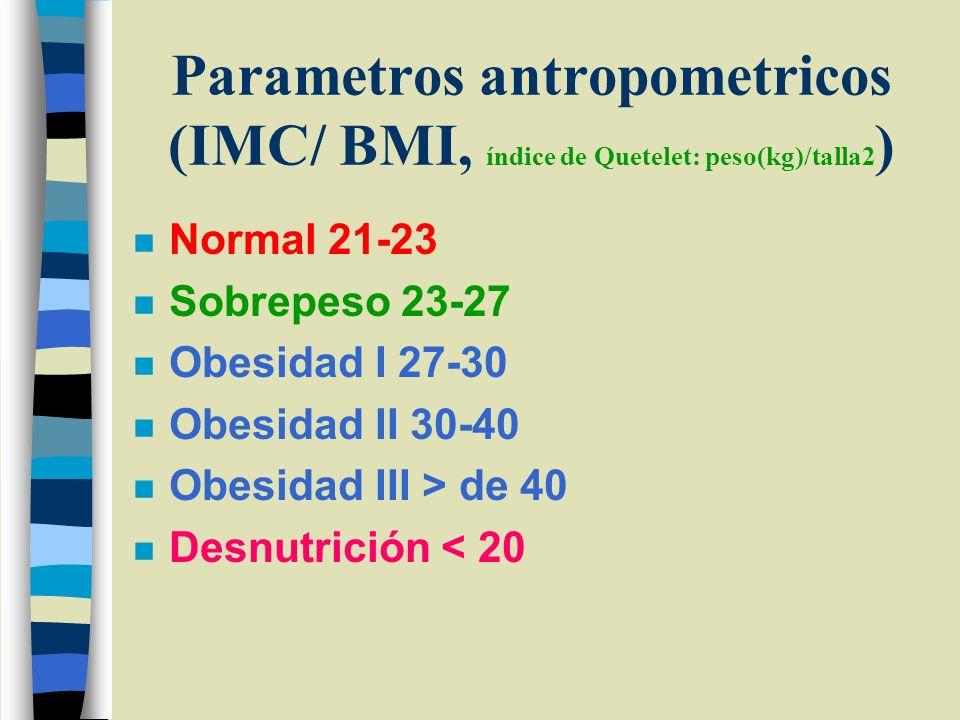 Parametros antropometricos (IMC/ BMI, índice de Quetelet: peso(kg)/talla2 ) n Normal 21-23 n Sobrepeso 23-27 n Obesidad I 27-30 n Obesidad II 30-40 n