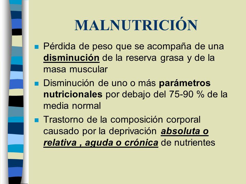 MALNUTRICIÓN n Pérdida de peso que se acompaña de una disminución de la reserva grasa y de la masa muscular n Disminución de uno o más parámetros nutr