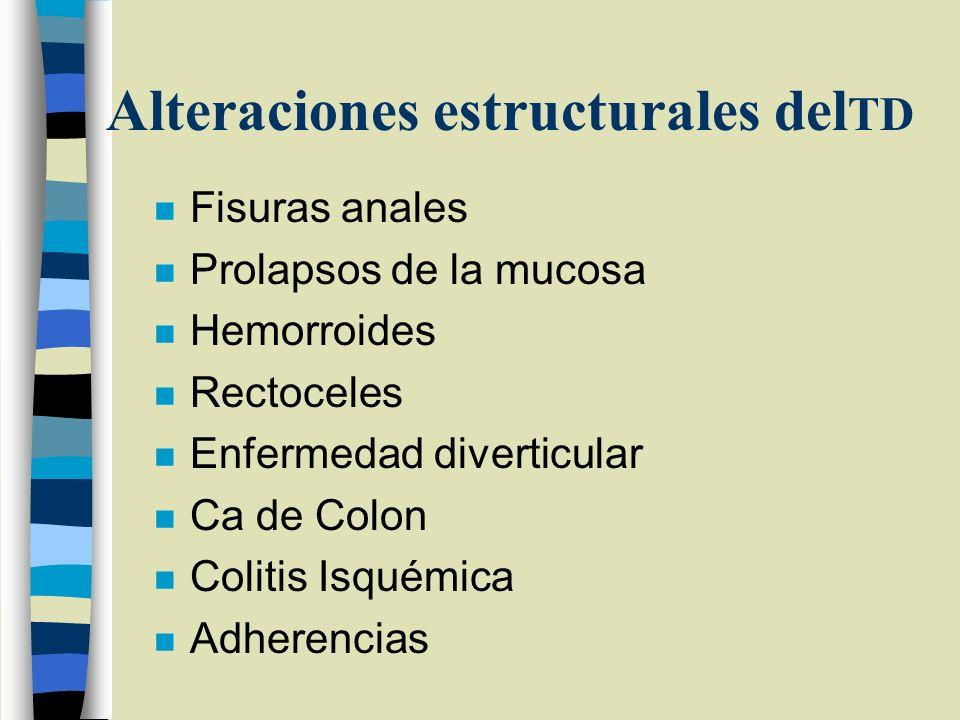 Alteraciones estructurales del TD n Fisuras anales n Prolapsos de la mucosa n Hemorroides n Rectoceles n Enfermedad diverticular n Ca de Colon n Colit