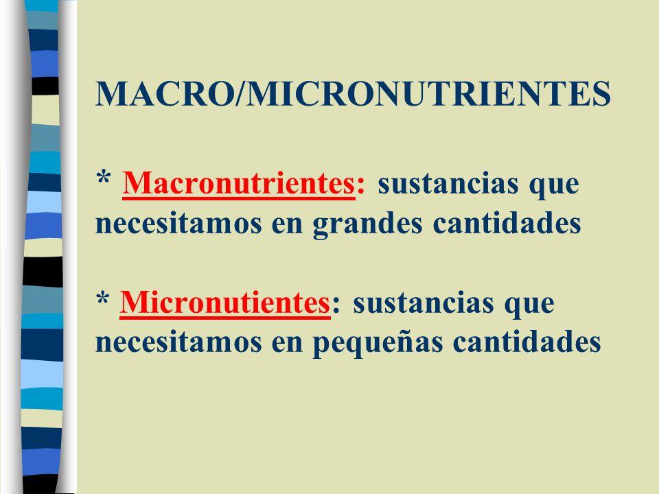 MACRO/MICRONUTRIENTES * Macronutrientes: sustancias que necesitamos en grandes cantidades * Micronutientes: sustancias que necesitamos en pequeñas can