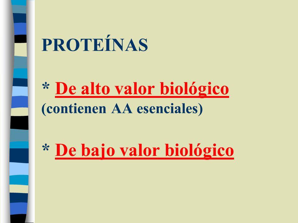 PROTEÍNAS * De alto valor biológico (contienen AA esenciales) * De bajo valor biológico