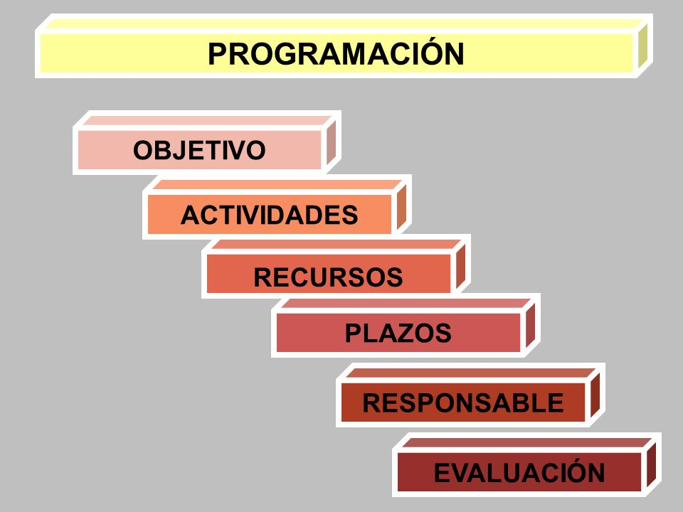 PROGRAMACIÓN ACTIVIDADES OBJETIVO RECURSOS PLAZOS RESPONSABLE EVALUACIÓN
