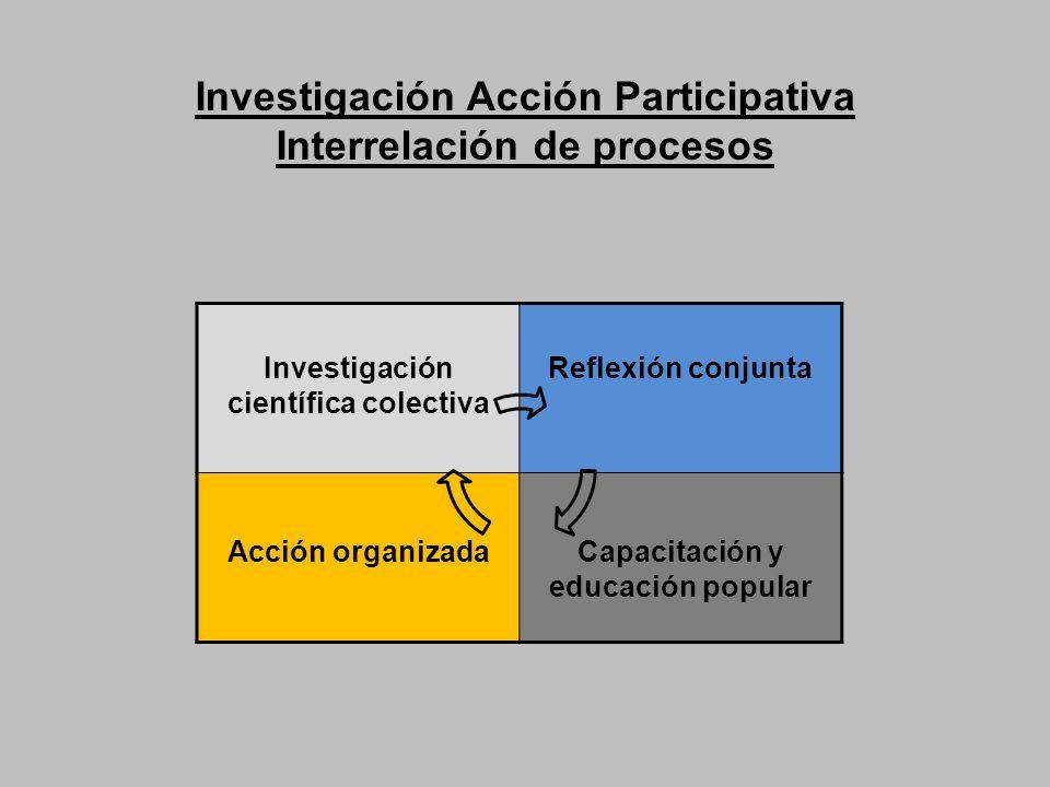Investigación Acción Participativa Interrelación de procesos Investigación científica colectiva Reflexión conjunta Acción organizadaCapacitación y edu