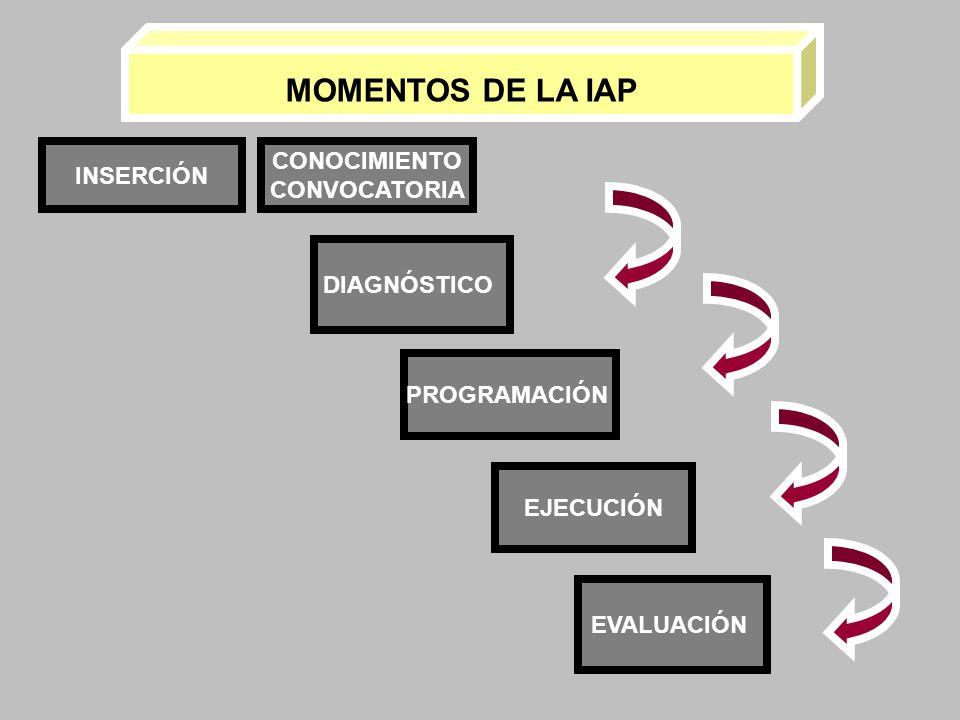 INSERCIÓN DIAGNÓSTICO PROGRAMACIÓN EJECUCIÓN EVALUACIÓN CONOCIMIENTO CONVOCATORIA MOMENTOS DE LA IAP