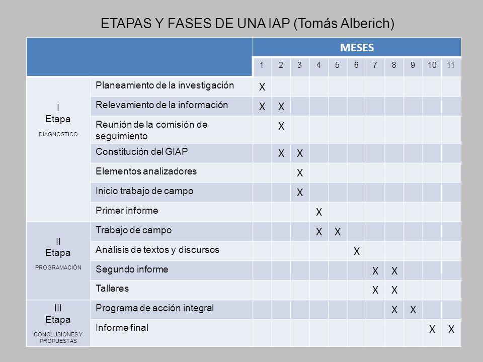 ETAPAS Y FASES DE UNA IAP (Tomás Alberich) MESES 1234567891011 I Etapa DIAGNOSTICO Planeamiento de la investigación X Relevamiento de la información X