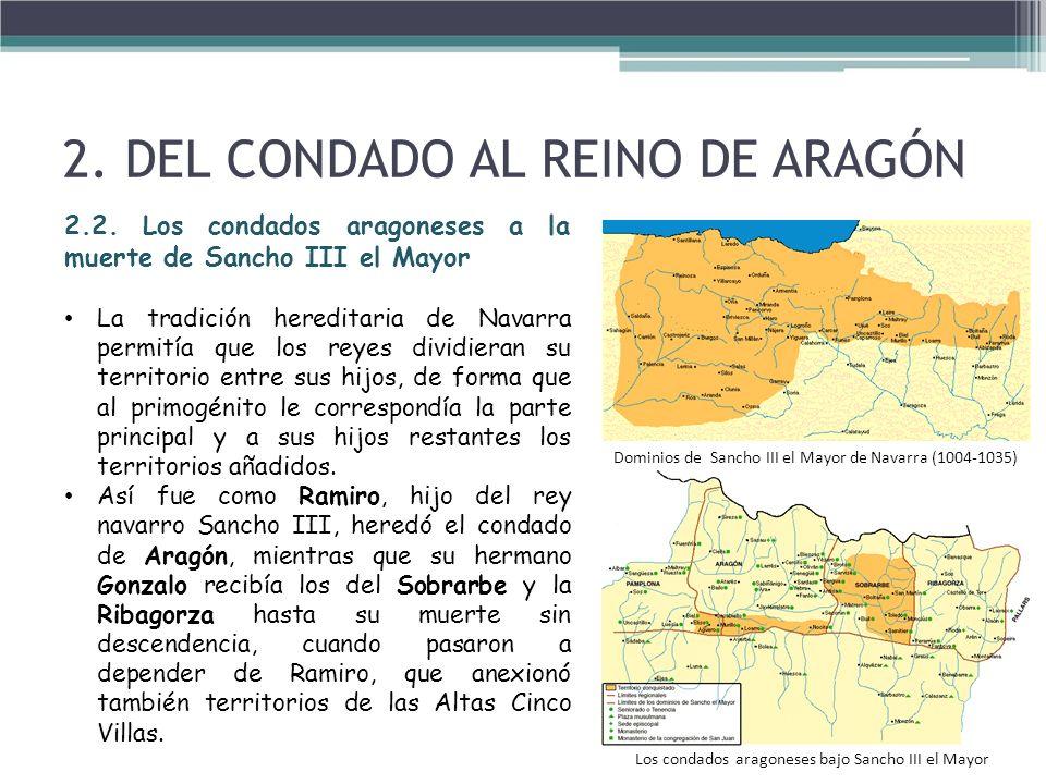 2. DEL CONDADO AL REINO DE ARAGÓN 2.2. Los condados aragoneses a la muerte de Sancho III el Mayor La tradición hereditaria de Navarra permitía que los