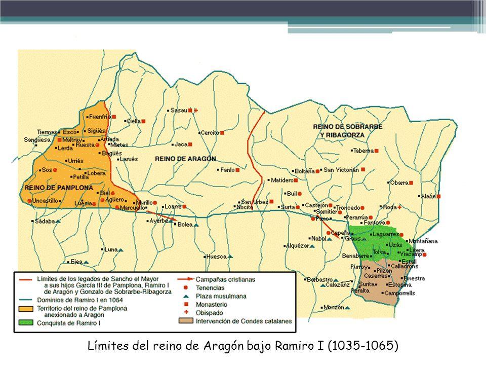 Límites del reino de Aragón bajo Ramiro I (1035-1065)