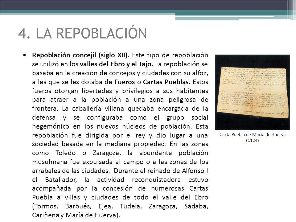Repoblación concejil (siglo XII). Este tipo de repoblación se utilizó en los valles del Ebro y el Tajo. La repoblación se basaba en la creación de con