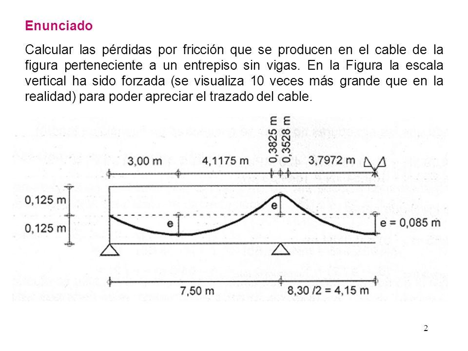 2 Enunciado Calcular las pérdidas por fricción que se producen en el cable de la figura perteneciente a un entrepiso sin vigas. En la Figura la escala