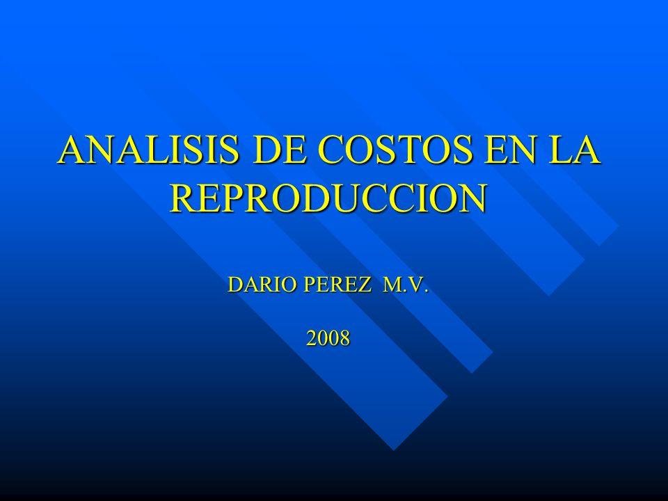 ANALISIS DE COSTOS EN LA REPRODUCCION DARIO PEREZ M.V. 2008