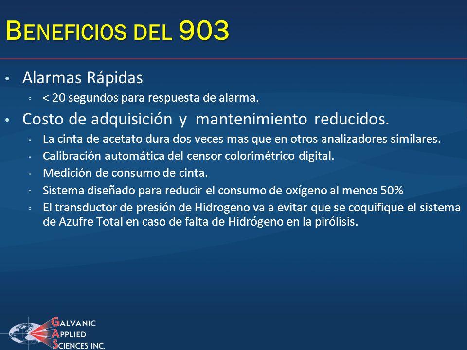 B ENEFICIOS DEL 903 Alarmas Rápidas < 20 segundos para respuesta de alarma. Costo de adquisición y mantenimiento reducidos. La cinta de acetato dura d