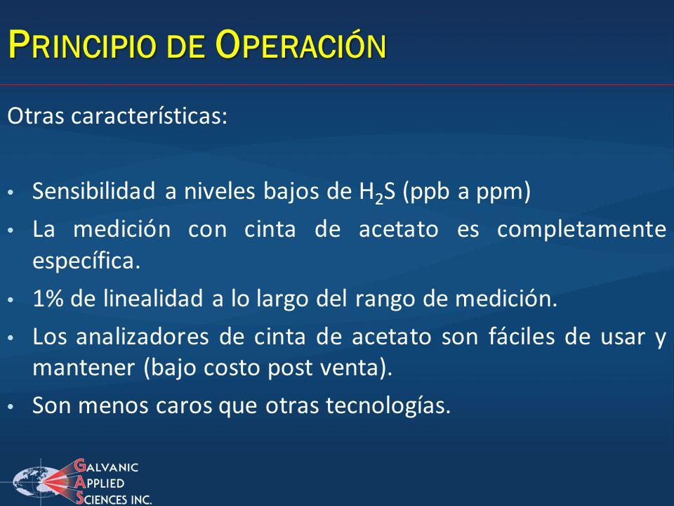 P RINCIPIO DE O PERACIÓN Otras características: Sensibilidad a niveles bajos de H 2 S (ppb a ppm) La medición con cinta de acetato es completamente es