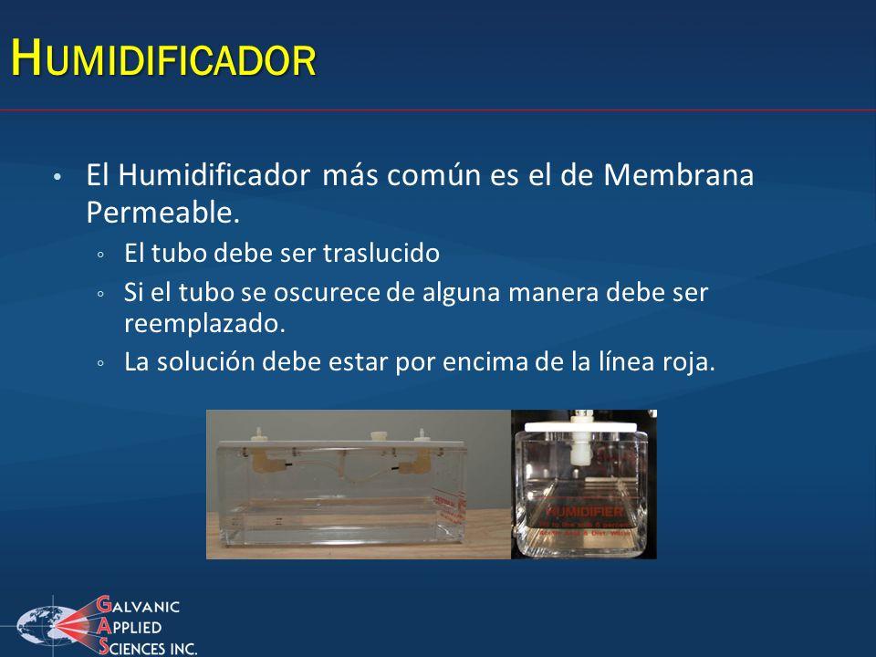 H UMIDIFICADOR El Humidificador más común es el de Membrana Permeable. El tubo debe ser traslucido Si el tubo se oscurece de alguna manera debe ser re