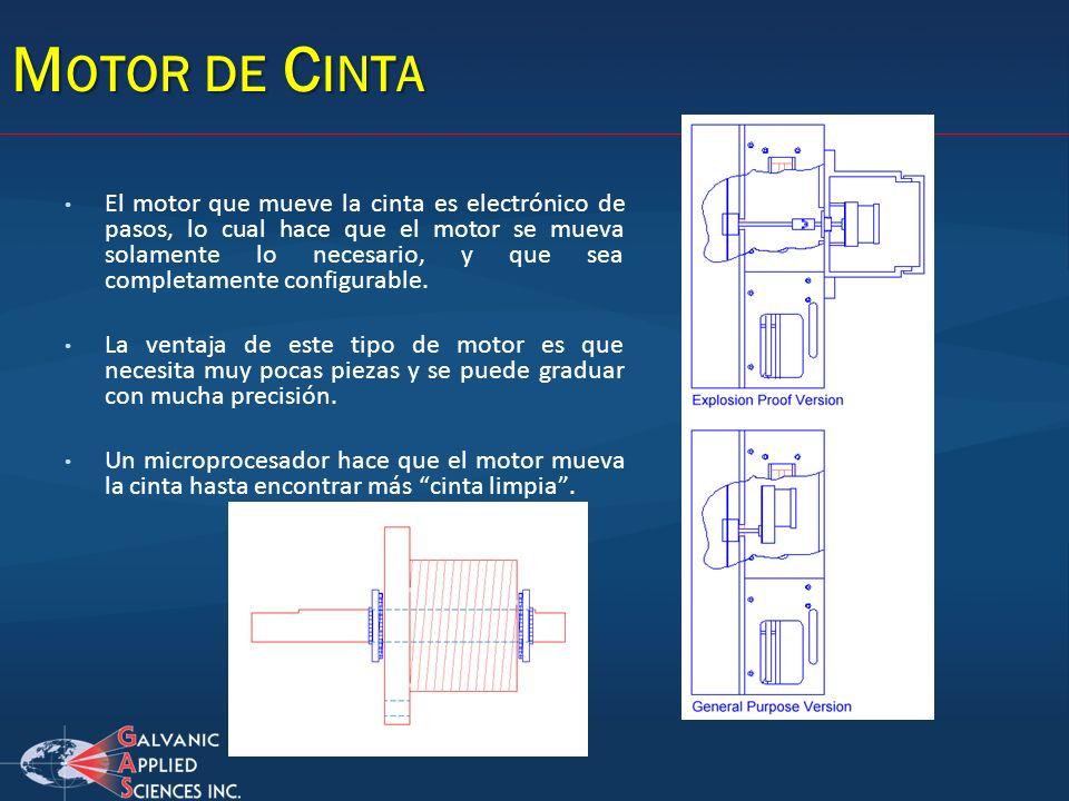 El motor que mueve la cinta es electrónico de pasos, lo cual hace que el motor se mueva solamente lo necesario, y que sea completamente configurable.