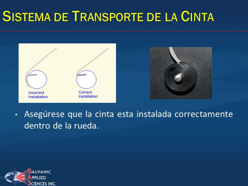 Asegúrese que la cinta esta instalada correctamente dentro de la rueda.