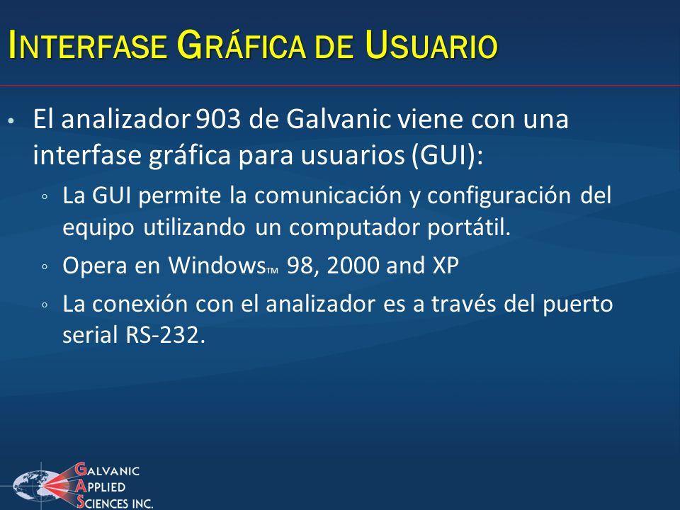 I NTERFASE G RÁFICA DE U SUARIO El analizador 903 de Galvanic viene con una interfase gráfica para usuarios (GUI): La GUI permite la comunicación y co