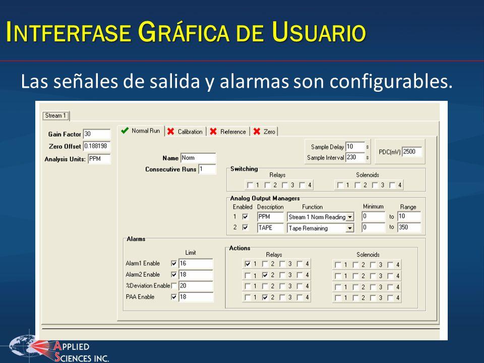 I NTFERFASE G RÁFICA DE U SUARIO Las señales de salida y alarmas son configurables.