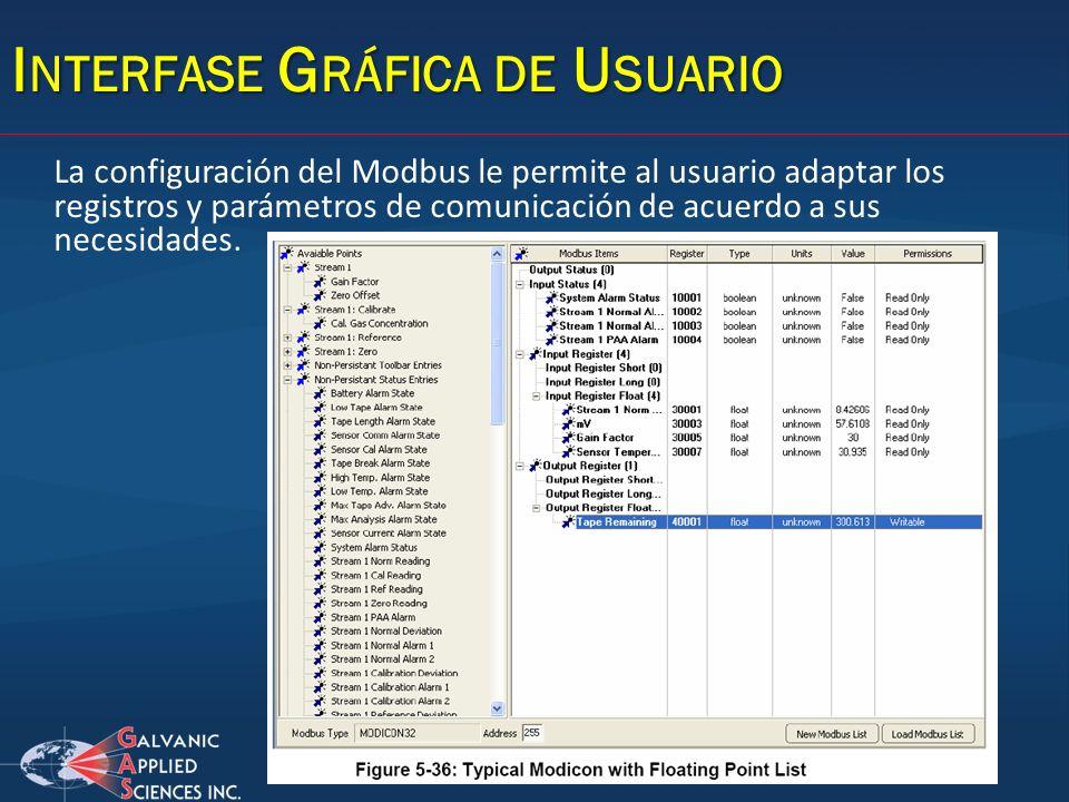 I NTERFASE G RÁFICA DE U SUARIO La configuración del Modbus le permite al usuario adaptar los registros y parámetros de comunicación de acuerdo a sus