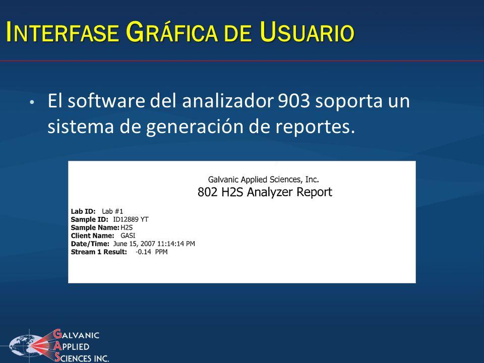 I NTERFASE G RÁFICA DE U SUARIO El software del analizador 903 soporta un sistema de generación de reportes.