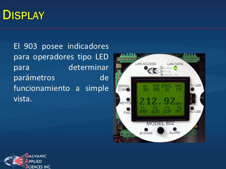 D ISPLAY El 903 posee indicadores para operadores tipo LED para determinar parámetros de funcionamiento a simple vista.