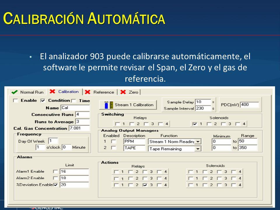 C ALIBRACIÓN A UTOMÁTICA El analizador 903 puede calibrarse automáticamente, el software le permite revisar el Span, el Zero y el gas de referencia.