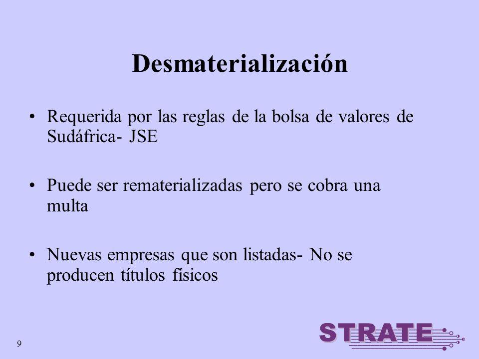 10 desmaterializado en STRATE Estadística de desmaterialización a la fecha Setiembre 2005 En manos de inversores en papel afuera de STRATE Instrumentos de Renta Variable