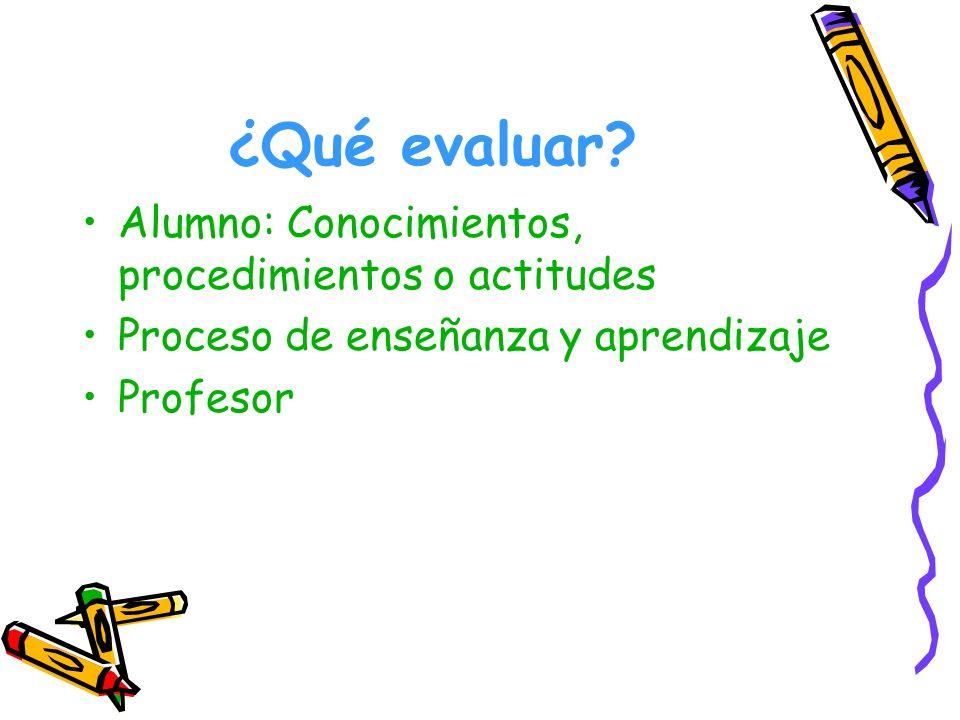 ¿Qué evaluar? Alumno: Conocimientos, procedimientos o actitudes Proceso de enseñanza y aprendizaje Profesor