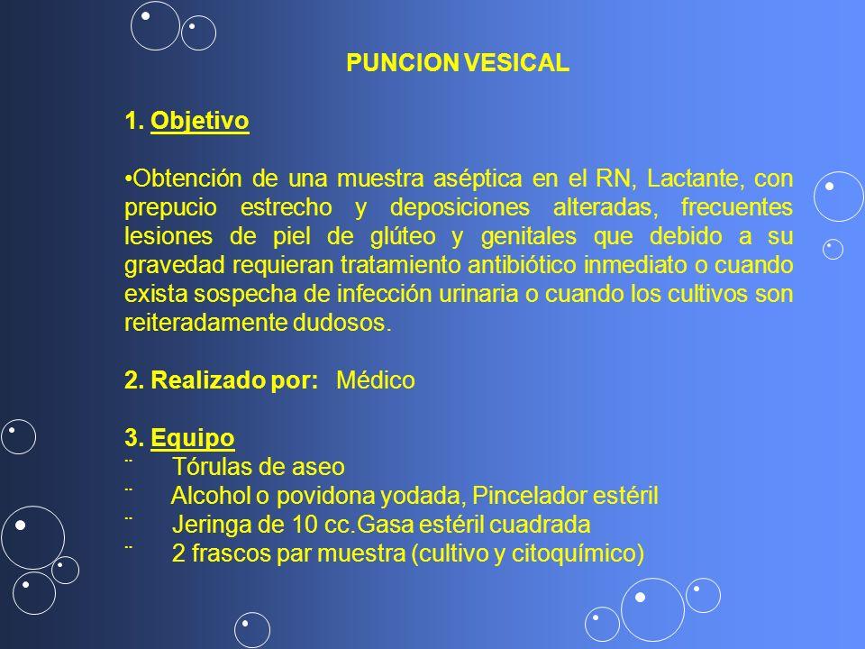 PUNCION VESICAL 1. Objetivo Obtención de una muestra aséptica en el RN, Lactante, con prepucio estrecho y deposiciones alteradas, frecuentes lesiones