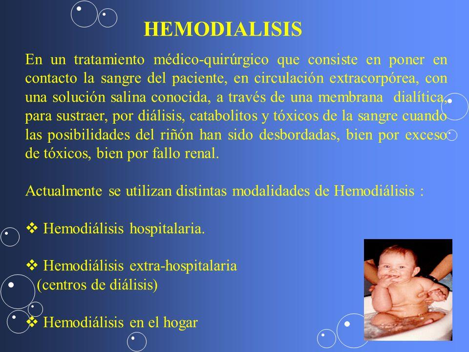HEMODIALISIS En un tratamiento médico-quirúrgico que consiste en poner en contacto la sangre del paciente, en circulación extracorpórea, con una soluc