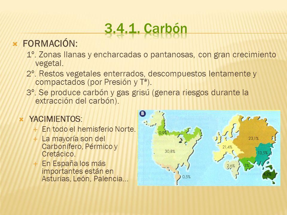 FORMACIÓN: 1º. Zonas llanas y encharcadas o pantanosas, con gran crecimiento vegetal. 2º. Restos vegetales enterrados, descompuestos lentamente y comp