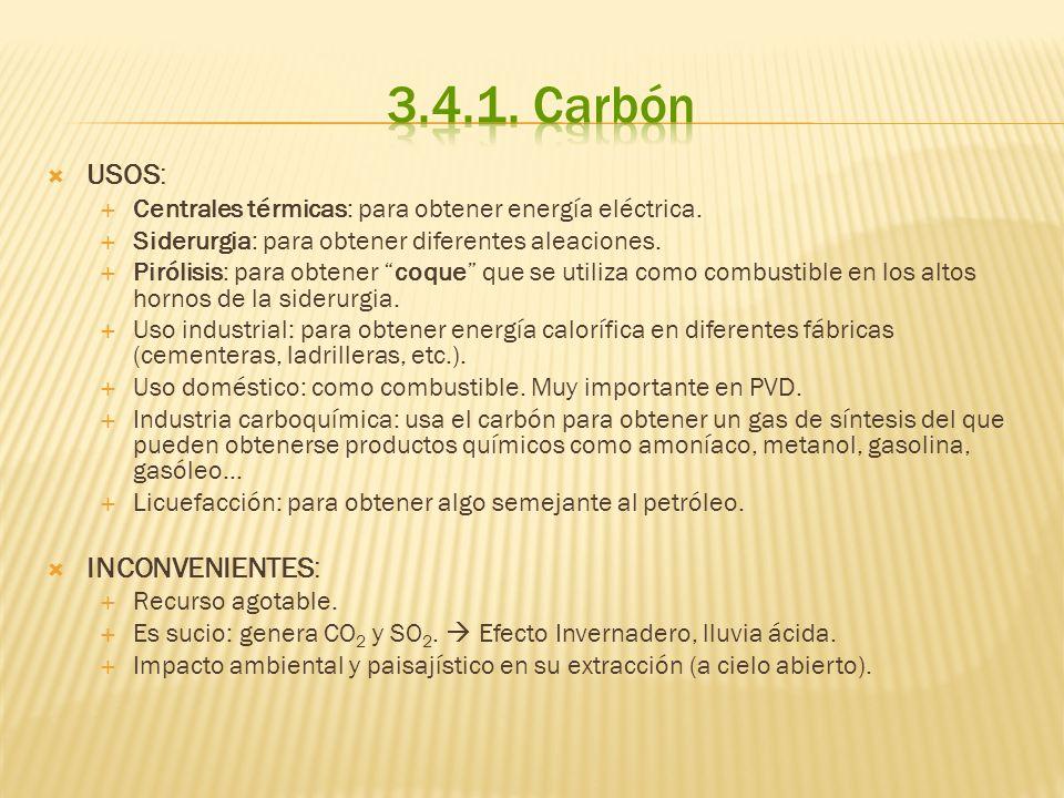 USOS: Centrales térmicas: para obtener energía eléctrica. Siderurgia: para obtener diferentes aleaciones. Pirólisis: para obtener coque que se utiliza
