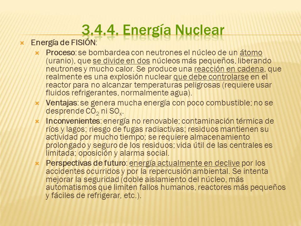Energía de FISIÓN: Proceso: se bombardea con neutrones el núcleo de un átomo (uranio), que se divide en dos núcleos más pequeños, liberando neutrones