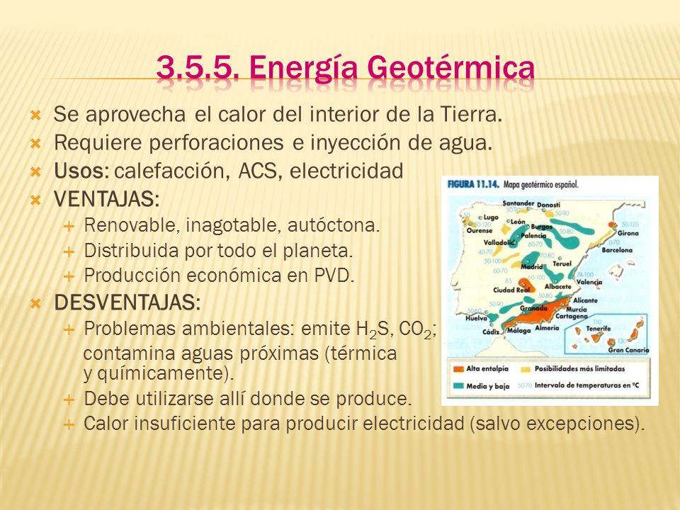 Se aprovecha el calor del interior de la Tierra. Requiere perforaciones e inyección de agua. Usos: calefacción, ACS, electricidad VENTAJAS: Renovable,