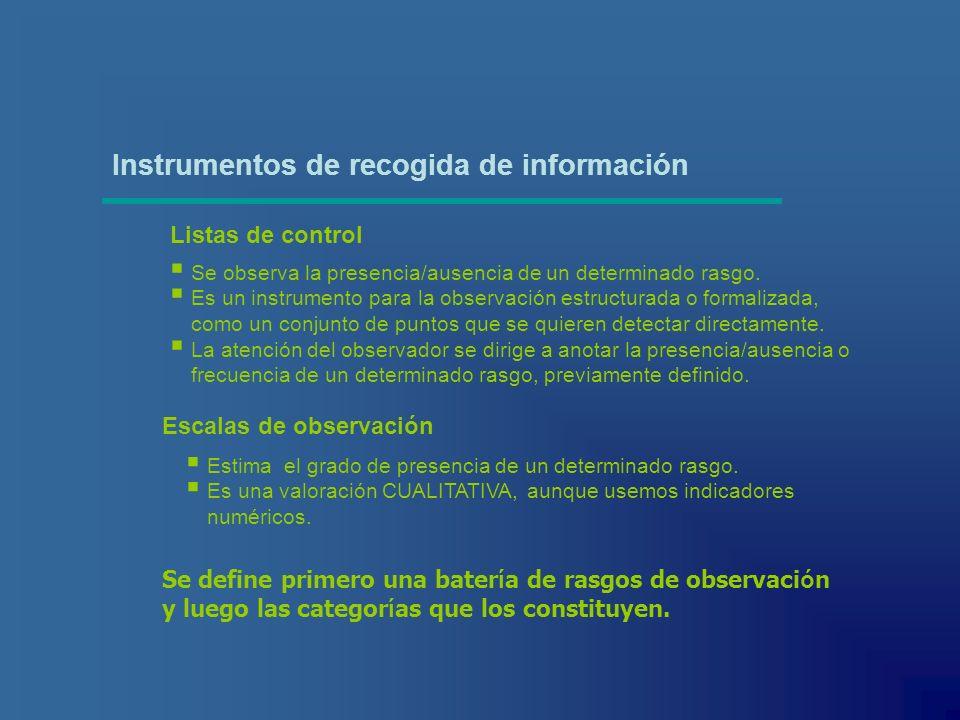 Listas de control Escalas de observación Instrumentos de recogida de información Se observa la presencia/ausencia de un determinado rasgo. Es un instr