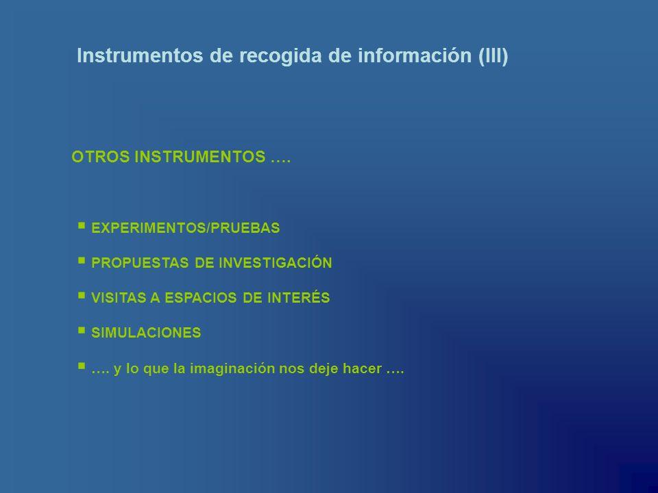 Instrumentos de recogida de información (III) OTROS INSTRUMENTOS …. EXPERIMENTOS/PRUEBAS PROPUESTAS DE INVESTIGACIÓN VISITAS A ESPACIOS DE INTERÉS SIM