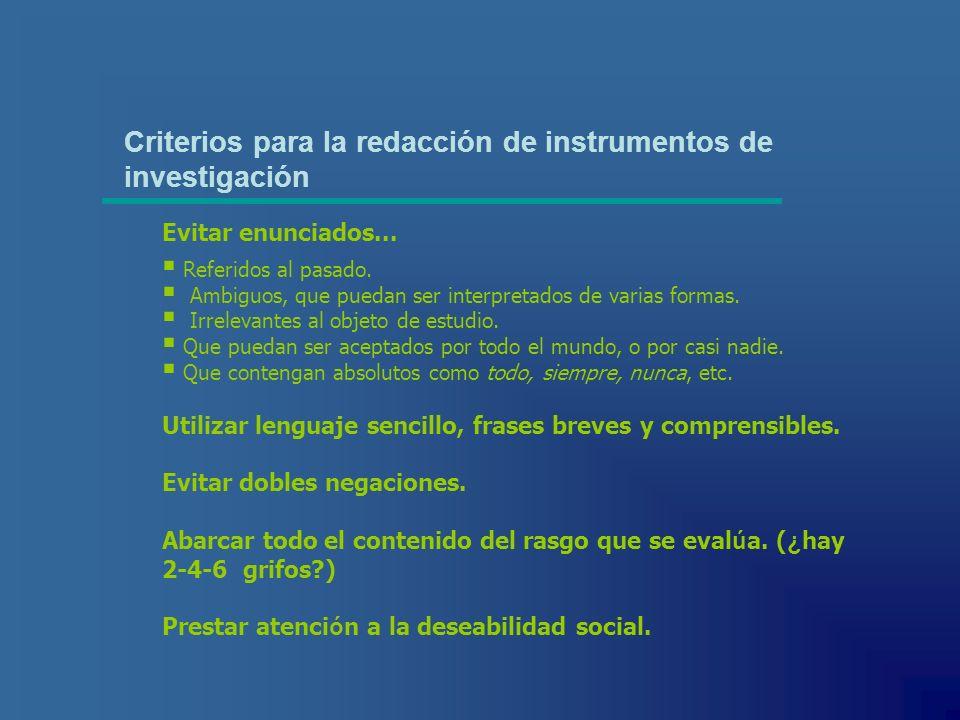 Criterios para la redacción de instrumentos de investigación Referidos al pasado. Ambiguos, que puedan ser interpretados de varias formas. Irrelevante