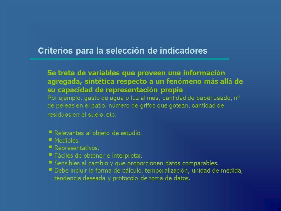 Criterios para la selección de indicadores Relevantes al objeto de estudio. Medibles. Representativos. F á ciles de obtener e interpretar. Sensibles a
