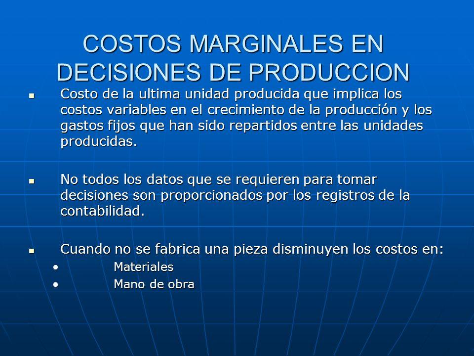 COSTOS MARGINALES EN DECISIONES DE PRODUCCION Costo de la ultima unidad producida que implica los costos variables en el crecimiento de la producción