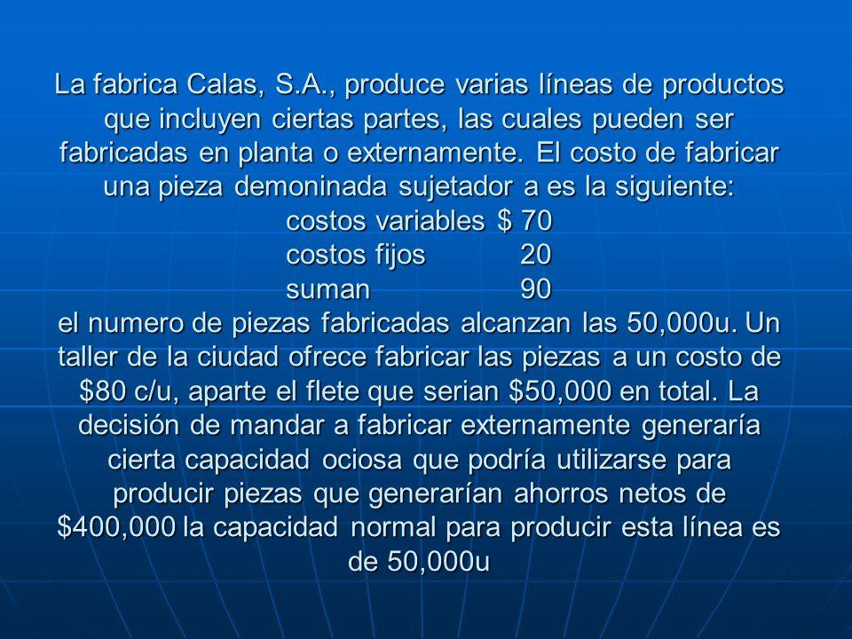 La fabrica Calas, S.A., produce varias líneas de productos que incluyen ciertas partes, las cuales pueden ser fabricadas en planta o externamente. El
