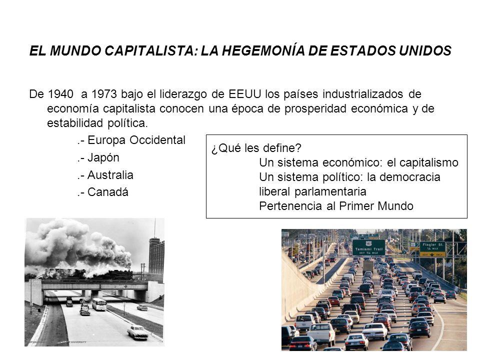 EL MUNDO CAPITALISTA: LA HEGEMONÍA DE ESTADOS UNIDOS De 1940 a 1973 bajo el liderazgo de EEUU los países industrializados de economía capitalista cono