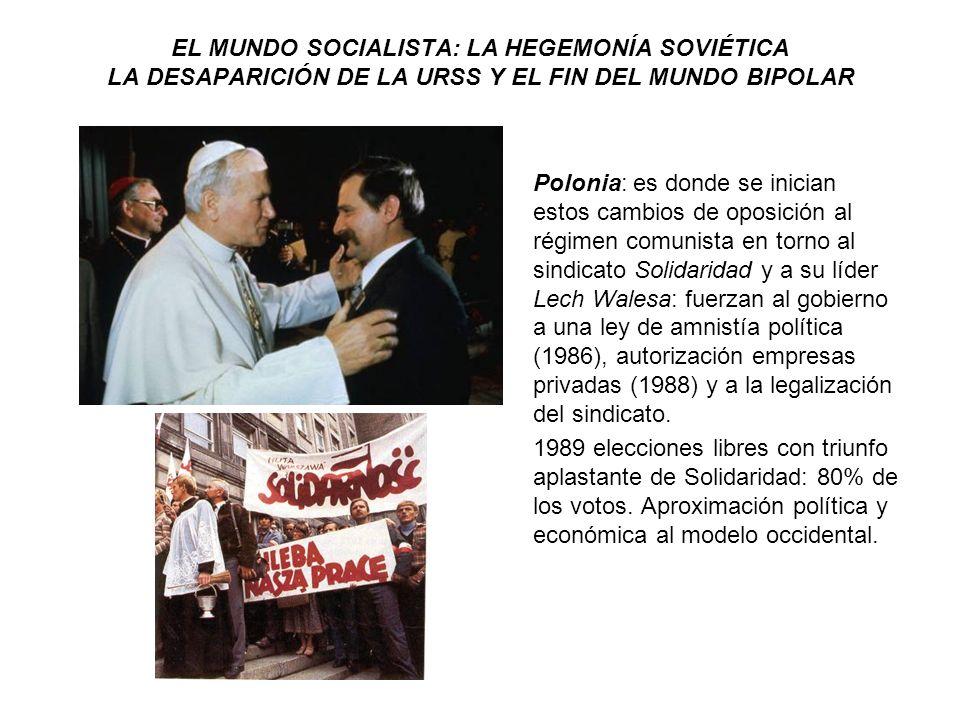 EL MUNDO SOCIALISTA: LA HEGEMONÍA SOVIÉTICA LA DESAPARICIÓN DE LA URSS Y EL FIN DEL MUNDO BIPOLAR Polonia: es donde se inician estos cambios de oposic