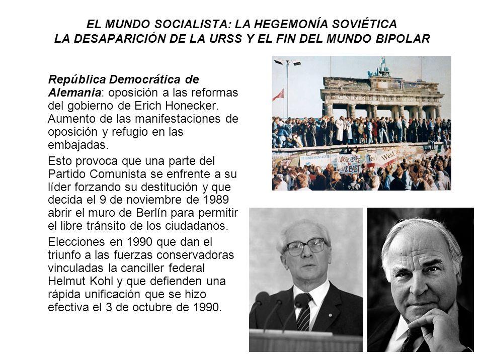 EL MUNDO SOCIALISTA: LA HEGEMONÍA SOVIÉTICA LA DESAPARICIÓN DE LA URSS Y EL FIN DEL MUNDO BIPOLAR República Democrática de Alemania: oposición a las r