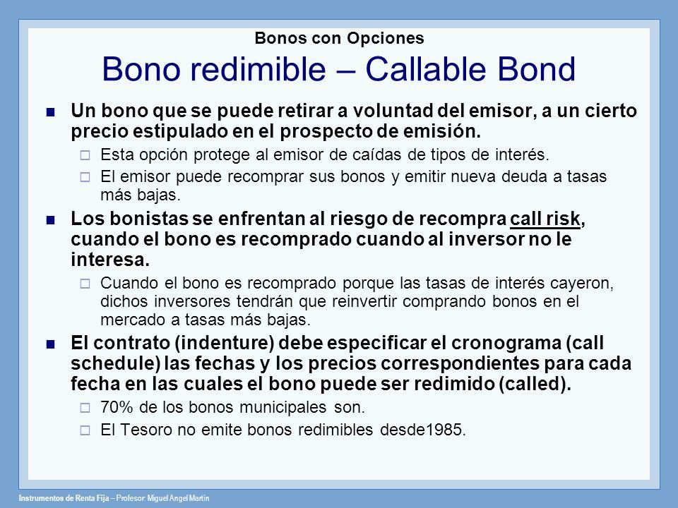 Instrumentos de Renta Fija – Profesor: Miguel Angel Martín Bonos con Opciones Bono redimible – Callable Bond Un bono que se puede retirar a voluntad d