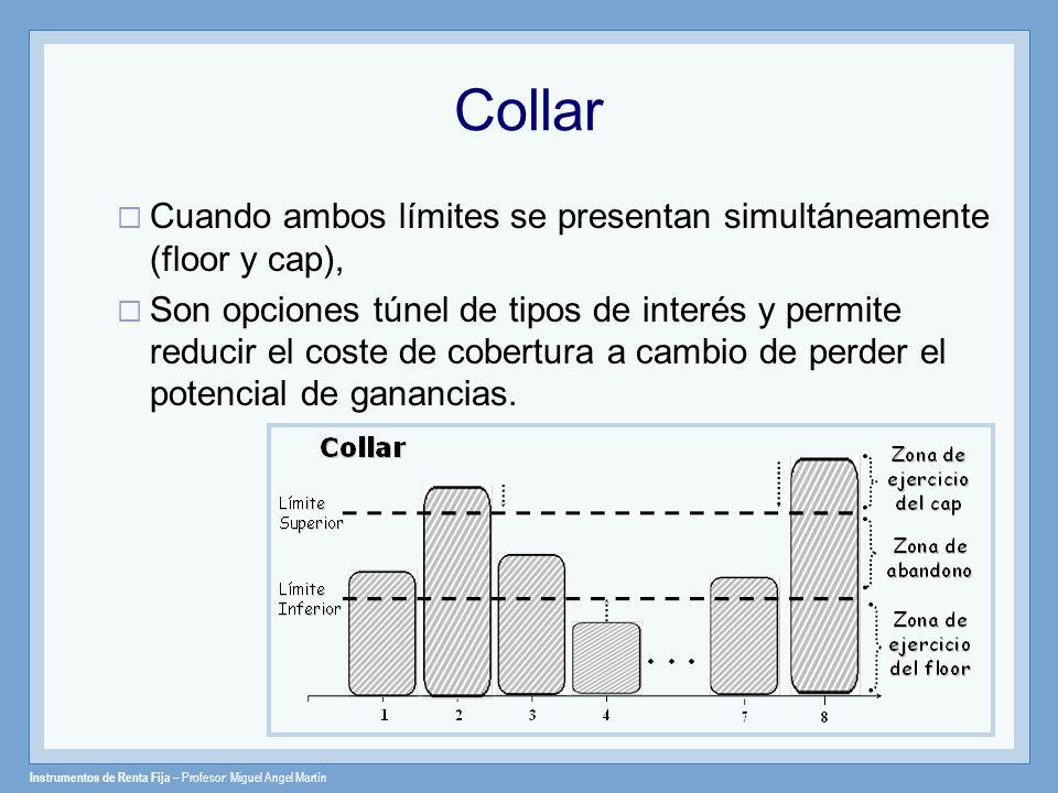 Instrumentos de Renta Fija – Profesor: Miguel Angel Martín Collar Cuando ambos límites se presentan simultáneamente (floor y cap), Son opciones túnel
