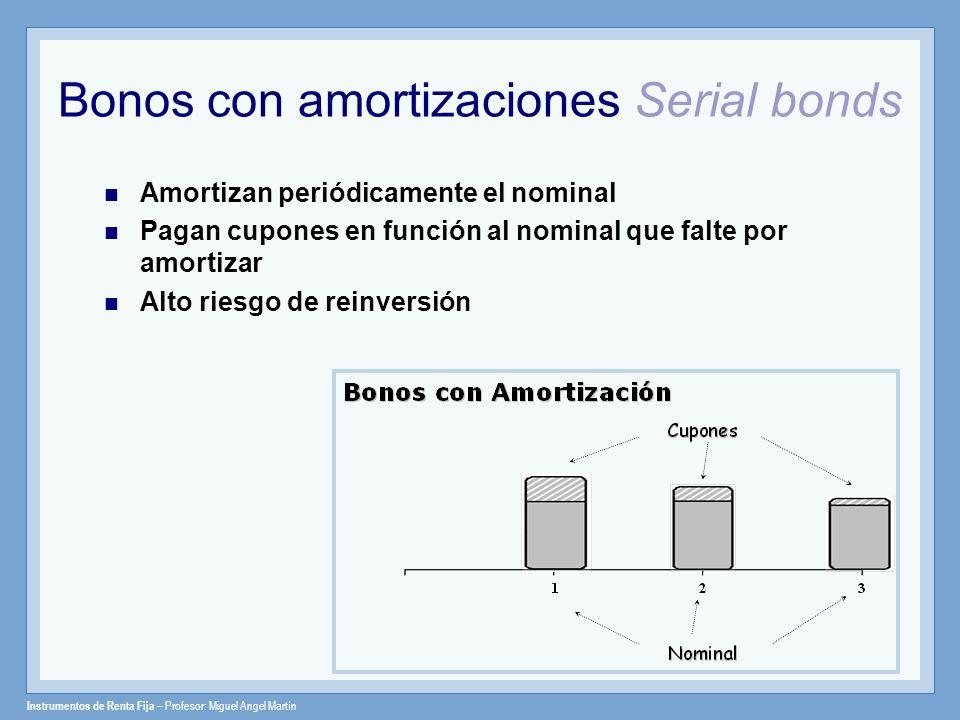 Instrumentos de Renta Fija – Profesor: Miguel Angel Martín Bonos con amortizaciones Serial bonds Amortizan periódicamente el nominal Pagan cupones en