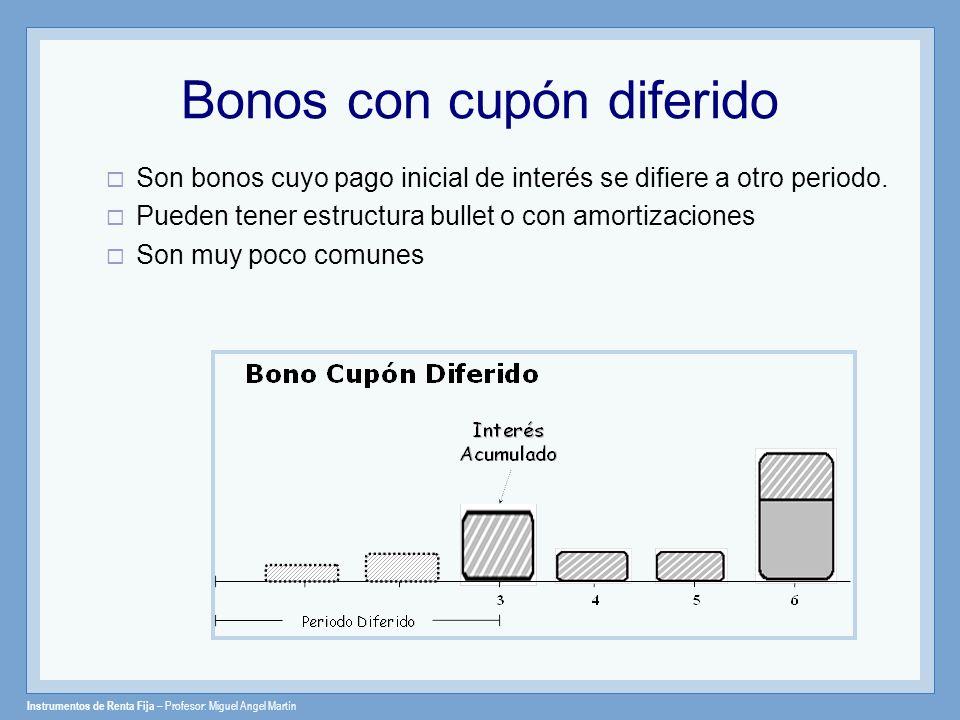 Instrumentos de Renta Fija – Profesor: Miguel Angel Martín Bonos Extendibles (Extendible Bonds) Da el derecho al inversor de extender la fecha original de vencimiento y tener un vencimiento mayor del instrumento.