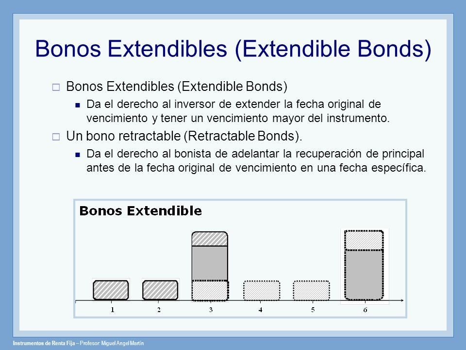 Instrumentos de Renta Fija – Profesor: Miguel Angel Martín Bonos Extendibles (Extendible Bonds) Da el derecho al inversor de extender la fecha origina