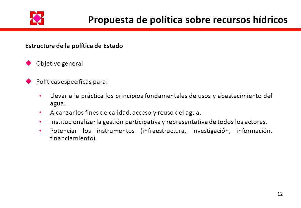 12 Propuesta de política sobre recursos hídricos Estructura de la política de Estado Objetivo general Políticas específicas para: Llevar a la práctica